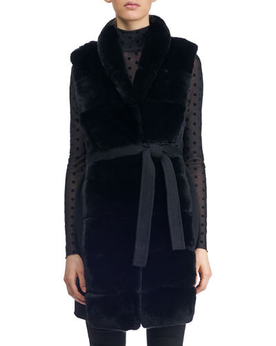 Wool Vest w/ Paneled Fur Trim