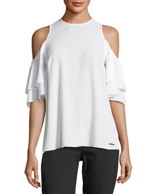 Image 1 of 2: Cold-Shoulder Flounce-Sleeve Top