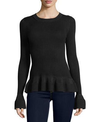 Image 1 of 2: Long-Sleeve Textured-Knit Top