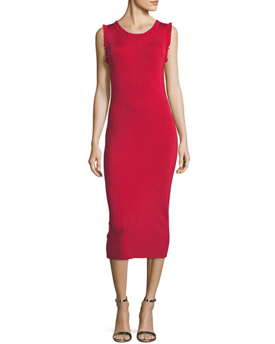 Solid Ruffle-Trim Sheath Dress