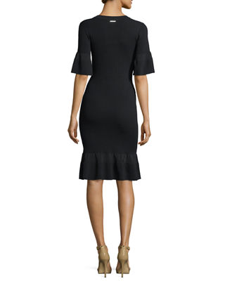 Image 2 of 2: Half-Sleeve Body-Con Textured Dress