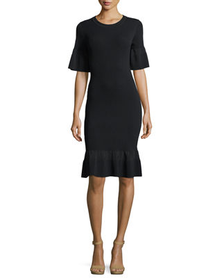 Image 1 of 2: Half-Sleeve Body-Con Textured Dress