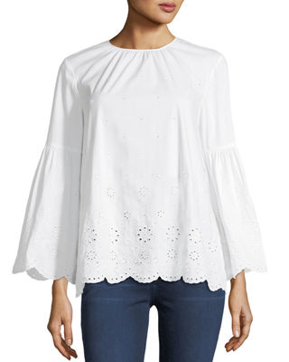 Eyelet-Trim Bracelet-Sleeve Top