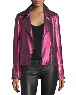 Metallic Suede Motorcycle Jacket