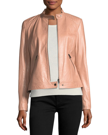 Neiman Marcus Leather Collection Leather Moto Jacket W Quilted