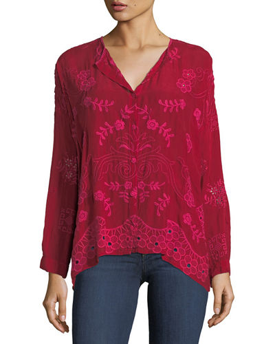 Sophia Button-Down Embroidered Top, Plus Size