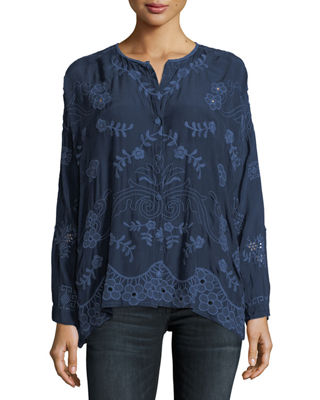 Johnny Was Sophia Button-Down Embroidered Top