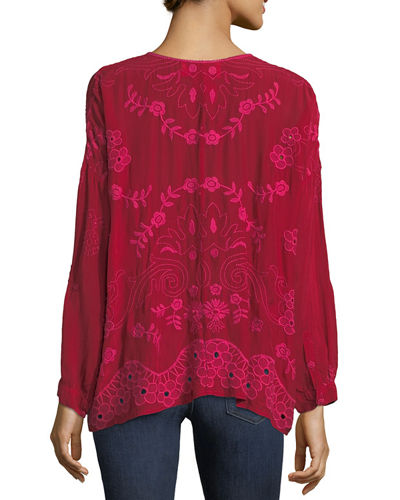 Sophia Button-Down Embroidered Top
