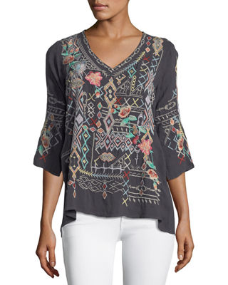 Johnny Was Seeroon Embroidered V-Neck Top, Plus Size