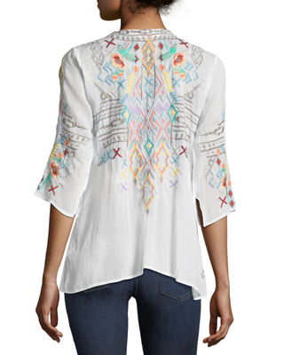 Image 2 of 3: Seeroon Embroidered V-Neck Top, Plus Size
