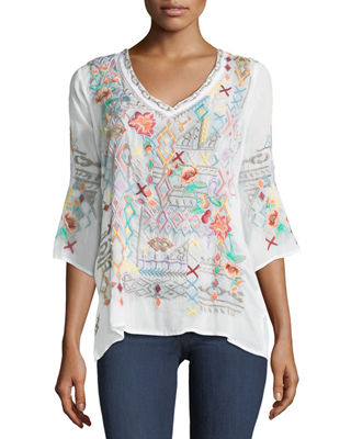 Image 1 of 3: Seeroon Embroidered V-Neck Top, Plus Size