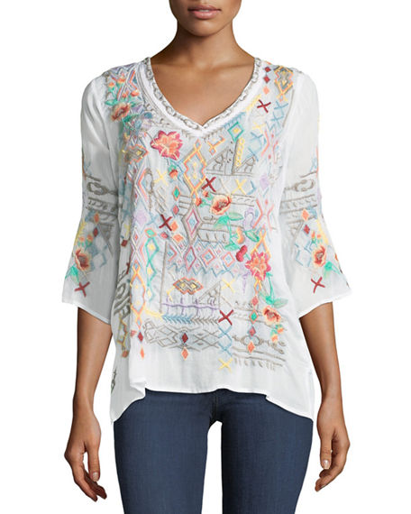 Johnny Was  SEEROON EMBROIDERED V-NECK TOP