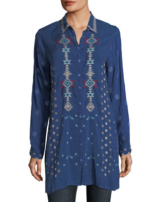 Johnny Was Nova Button-Front Long Embroidered Tunic