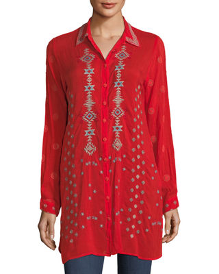 Nova Button-Front Long Embroidered Tunic