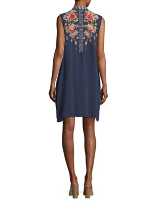 Basille Georgette Embroidered Tunic Dress, Plus Size