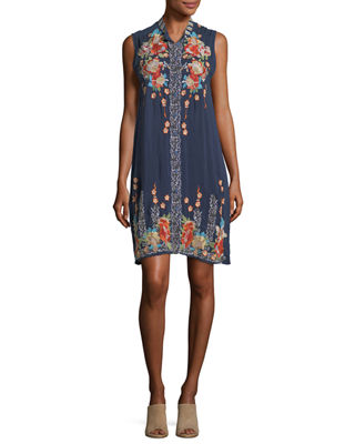 Johnny Was Basille Georgette Embroidered Tunic Dress, Plus