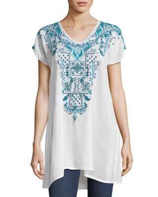 Eros V-Neck Embroidered Tunic, Plus Size