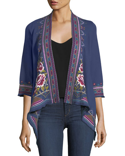 Langley French Terry Draped Cardigan, Plus Size