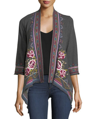 Johnny Was Langley French Terry Draped Cardigan