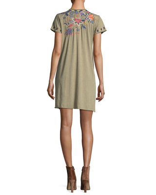 Tivva Jersey V-Neck Draped Embroidered Tunic Dress