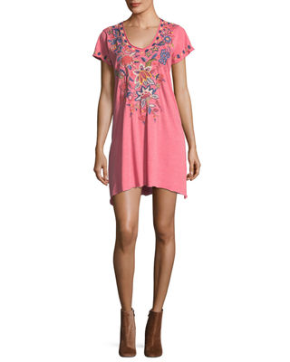 Johnny Was Tivva Jersey V-Neck Draped Embroidered Tunic