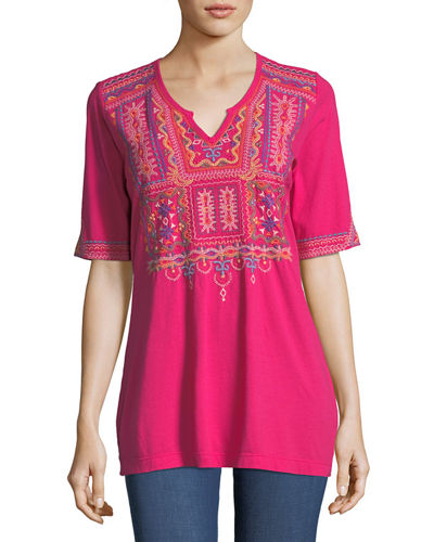 Annika Boho Knit Tunic w/ Embroidery, Plus Size