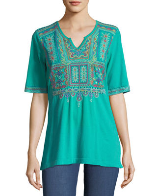 Johnny Was Annika Boho Knit Tunic w/ Embroidery