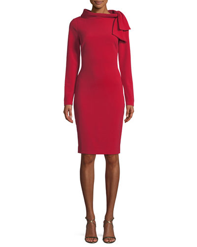 Long-Sleeve Self-Tie Sheath Dress