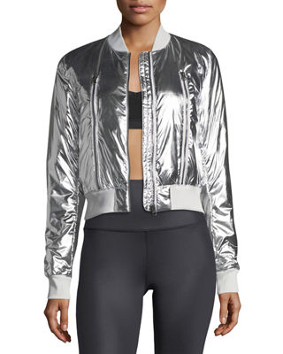 Off-Duty Metallic Bomber Jacket