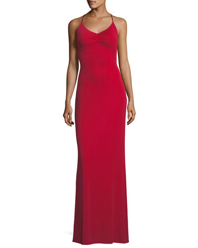 Donna Crisscross Backless Long Gown