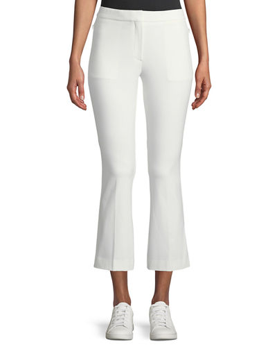 Stretch-Cotton Cropped Kick-Flare Pants