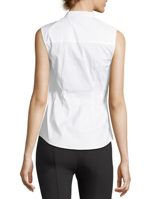 Image 2 of 3: Ruched Fitted Stretch-Cotton Top