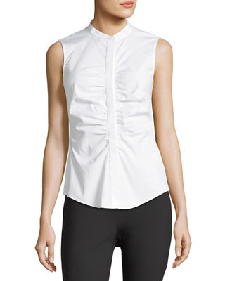 Image 3 of 3: Ruched Fitted Stretch-Cotton Top