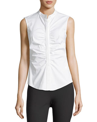 Image 1 of 3: Ruched Fitted Stretch-Cotton Top