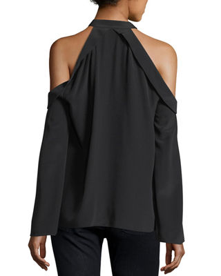 Image 2 of 2: Martie Cold-Shoulder Bell-Sleeve Crepe de Chine Blouse