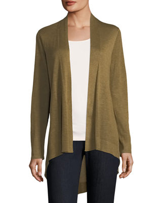 Eileen Fisher Sleek Knit Open-Front Cardigan, Plus Size