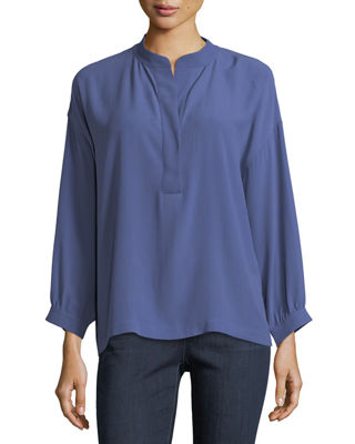 Silk Georgette Crepe Henley Blouse