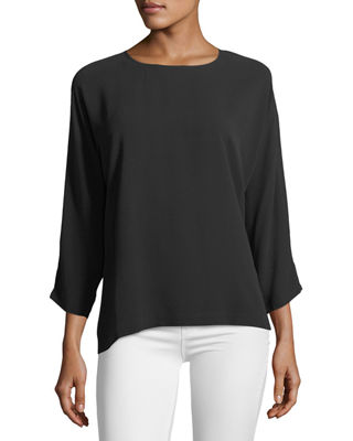 Silk Georgette Crepe Slit-Sleeve Top