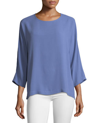 Eileen Fisher Silk Georgette Crepe Slit-Sleeve Top