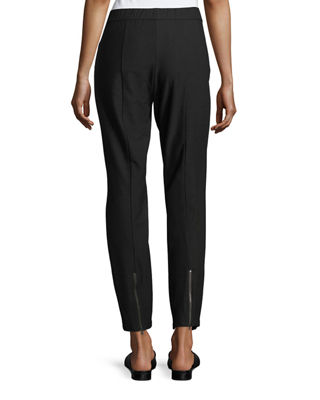 Image 2 of 3: Stretch Crepe Back-Zip Pants