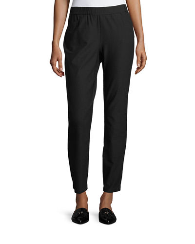 Stretch Crepe Back-Zip Pants, Plus Size
