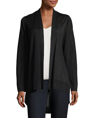 Sleek Knit Open-Front Cardigan, Petite