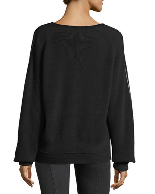 Image 2 of 3: V-Neck Long-Sleeve Cotton-Cashmere Rib-Knit Sweater