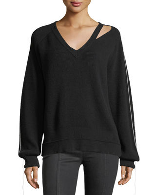 Image 1 of 3: V-Neck Long-Sleeve Cotton-Cashmere Rib-Knit Sweater
