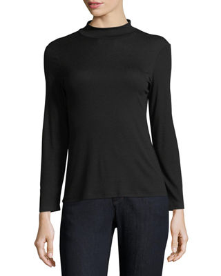 Micro-Rib Mock-Neck Bracelet-Sleeve Top