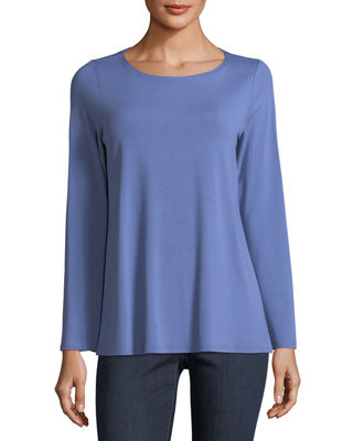 Image 1 of 2: Viscose Jersey Long-Sleeve Top, Petite