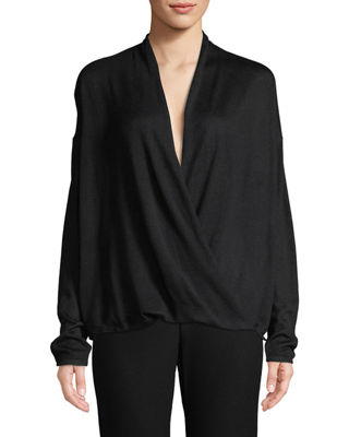 Image 1 of 3: Sleek Faux-Wrap Top