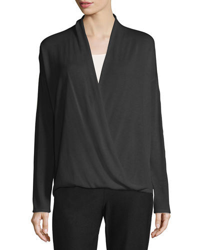 Eileen Fisher Sleek Faux-Wrap Top, Plus Size