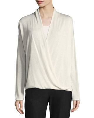 Eileen Fisher Sleek Faux-Wrap Top, Petite