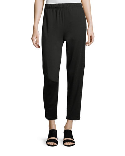 Terry Slouchy-Stretch Tapered Pants, Plus Size